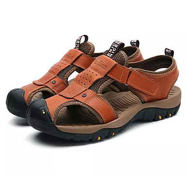 Ανδρικά Παπούτσια άνεσης Δερμάτινο Καλοκαίρι Σανδάλια Μπλε / Ανοικτό Καφέ / Σκούρο καφέ