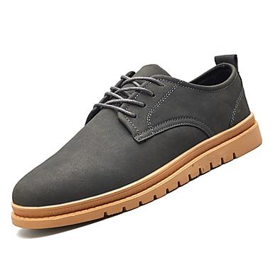 Муж. Комфортная обувь Полиуретан Зима На каждый день Туфли на шнуровке Нескользкий Черный / Серый / Зеленый