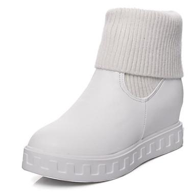 voordelige Dameslaarzen-Dames PU / Synthetisch Winter Zoet / minimalisme Laarzen Creepers Ronde Teen Kuitlaarzen Wit / Zwart