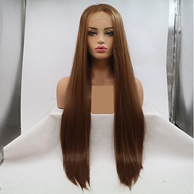 合成レースフロントウィッグ ストレート スタイル レイヤード・ヘアカット フロントレース かつら ブラウン ベージュ 合成 24 インチ 女性用 女性 ブラウン かつら ロング Sylvia 130% 人間の毛髪密度 ナチュラルウィッグ