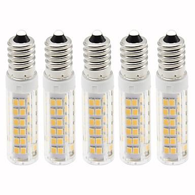 billige Elpærer-5pcs 4.5 W LED-kornpærer 450 lm E14 T 76 LED perler SMD 2835 Mulighet for demping Varm hvit Kjølig hvit 220 V
