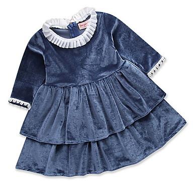 baratos Princesa-Infantil Para Meninas Básico Sólido Manga Longa Vestido Azul Marinha