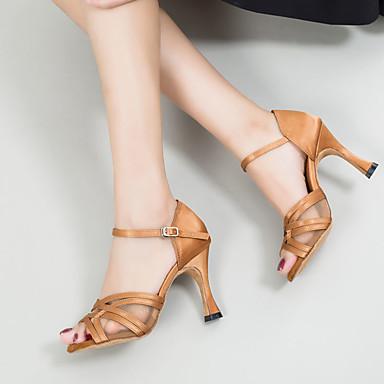 Žene Plesne cipele Saten Cipele za latino plesove Kopča Sandale / Tenisice Tanka visoka peta Moguće personalizirati Braon / Seksi blagdanski kostimi / Koža / EU37