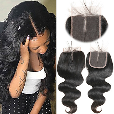 f9a5714224 Laflare Brazilian Hair 4x4 Closure Wavy Middle Part Middle Part Swiss Lace  Remy Human Hair Women's Soft / Best Quality / New Arrival Christmas /  Wedding ...