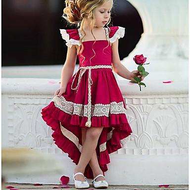 povoljno Princeza-Djeca Djevojčice Ulični šik Party Jednobojni Čipka Bez rukávů Asimetričan Poliester Haljina Red