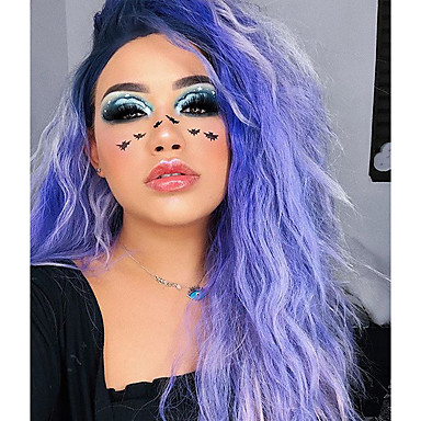 Synthetic Lace Front Wig Curly Style Lace Front Wig Purple Purple Synthetic Hair Women's Natural Hairline Purple Wig 50cm(Approx20inch) Uniwigs Natural Wigs / Yes