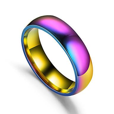 billige Motering-Par Band Ring 1pc Regnbue Titanium Stål Sirkelformet damer Enkel Romantikk Gave Daglig Smykker Retro Regnbue Heart Smuk