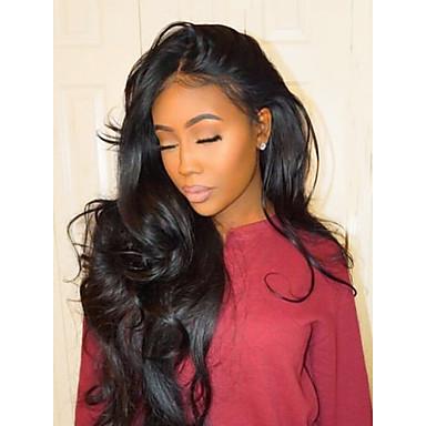 halpa Aitohiusperuukit verkolla-Aidot hiukset Käsittelemätön aitoa hiusta Liimaton puoliverkko Lace Front Peruukki tyyli Brasilialainen Runsaat laineet Peruukki 130% 150% 180% Hiusten tiheys 22-28 inch ja vauvan hiukset