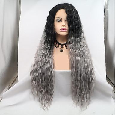 Synthetische Lace Front Perücken Wellen Kardashian Stil Stufenhaarschnitt Spitzenfront Perücke Dunkelgrau Grau Synthetische Haare 24 Zoll Damen Damen / Gefärbte Haarspitzen (Ombré Hair) Dunkelgrau