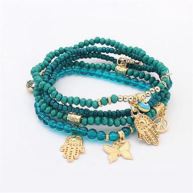 abordables Bracelet-Breloque Charms Bracelet Bracelet à Perles Femme Perlé Résine Papillon Ancre Ethnique Mode Bracelet Bijoux Noir Rouge Vert Main de Fatma pour Quotidien