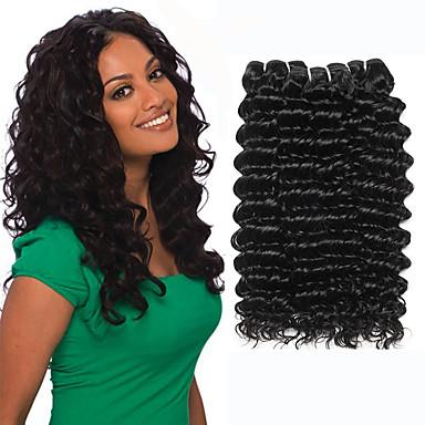 billige Parykker af ægte menneskerhår-3 Bundler malaysisk hår Deep Curly 100% Remy Hair Weave Bundles Bundle Hair Hårforlængelse af menneskehår Vævning 10-26 inch Naturlig Farve Menneskehår Vævninger Vævet Naturlig nyt Menneskehår