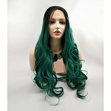 Pruik Lace Front Synthetisch Haar Dames BodyGolf Zwart Gelaagd kapsel 130% Human Hair Density Synthetisch haar 24 inch(es) Dames Zwart / Groen Pruik Lang Kanten Voorkant Zwart / groen Sylvia