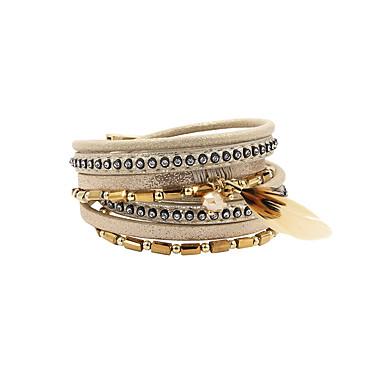 baratos Pulseiras de couro-Mulheres Pulseiras de couro Multi Camadas Boho PU Leather Pulseira de jóias Cinzento / Amarelo Claro Para Presente Diário