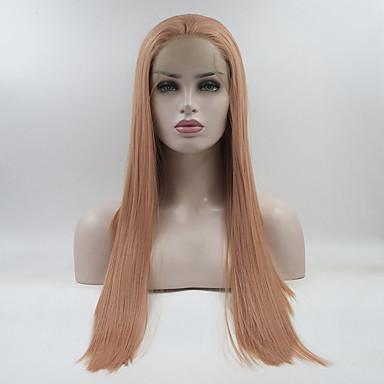 Parrucche Lace Front Sintetiche Liscio Stile Parte libera Lace frontale Parrucca Rosa Rosa Capelli sintetici 18-26 pollice Per donna Regolabili / Di pizzo / Resistente al calore Rosa Parrucca Lungo