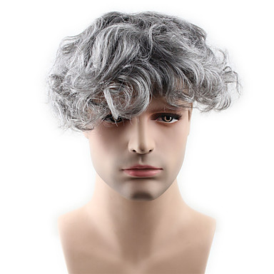 cheap Toupees-Men's Human Hair Toupees Wavy 100% Hand Tied Soft / Dark Gray