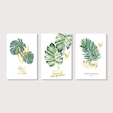 billige Trykk-Trykk Strukket Lerret Trykk - Still Life Blomstret / Botanisk Moderne Tre Paneler Kunsttrykk