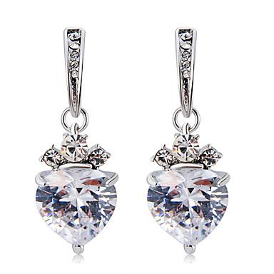 voordelige Dames Sieraden-Dames Helder Kristal Druppel oorbellen Transparant Hart Modieus Modern Elegant Gesimuleerde diamant oorbellen Sieraden Zilver Voor Dagelijks Formeel 2pcs