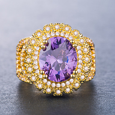 Women's Cubic Zirconia Classic Oval Cut Halo Ring Copper Flower Luxury Unique Design western style Ring Jewelry Purple / Yellow / Gold-Wine For Wedding Party Gift Daily Date 6 / 7 / 8 / 9 / 10