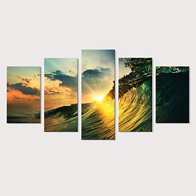 tanie Wydruki-Nadruk Wydruki na rozciągniętym płótnie - Krajobraz Fotografia Nowoczesny Pięć paneli Reprodukcje