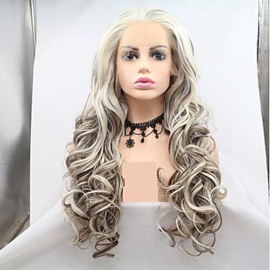 Pruik Lace Front Synthetisch Haar Dames Gekruld / Watergolf Wit Gelaagd kapsel 130% Human Hair Density Synthetisch haar 24 inch(es) Dames / Kleurgradatie Wit / Lichtbruin Pruik Lang Kanten Voorkant