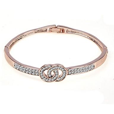 baratos Bangle-Mulheres Bracelete Dois Tons Intertravamento Barato Círculo Interligado Estiloso Europeu Diário Liga Pulseira de jóias Prata / Ouro Rose Para Presente Diário