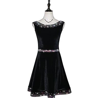 Balli latino-americani Vestiti Per donna Prestazioni Chiffon vellulato Con ruche / Cristalli / Strass Senza maniche Abito