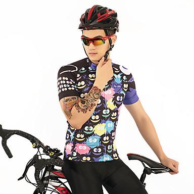 Firtysnow Per Uomo Manica Corta Maglia Da Ciclismo - Nero Cartoni Animati Bicicletta Maglietta - Maglia Traspirante Asciugatura Rapida Gli Sport Poliestere Ciclismo Da Montagna Cicismo Su Strada #07100142