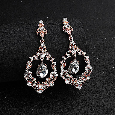 cheap Earrings-Women  039 s White Cubic Zirconia Geometrical Drop Earrings  Imitation Diamond f15b551a7169