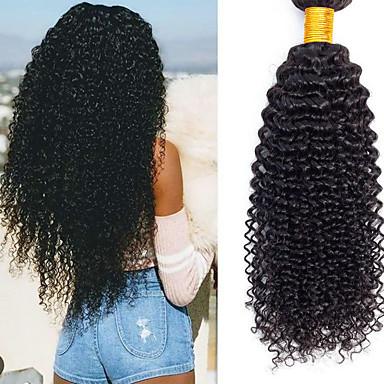 6 pacchi Brasiliano Kinky Curly capelli naturali Remy Accessori per capelli Ciocche a onde capelli veri Bomboniere Tea Party 8-28 pollice Colore Naturale Tessiture capelli umani Design Classico
