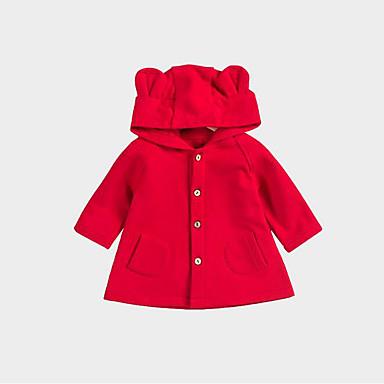 billige Ytterklær til baby-Baby Jente Grunnleggende Ensfarget Langermet Normal Jakke og frakk Rød