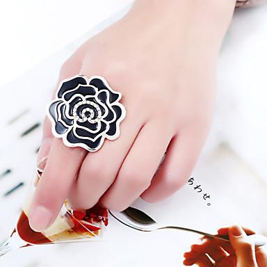 tanie Modne pierścionki-Damskie Klasyczny Otwórz pierścień Kryształ górski Stop Róże Elegancki Romantyczna Modne pierścionki Biżuteria Biały / Czarny / Czerwony Na Casual Party Wieczór Kij Cicha sympatia Regulowany