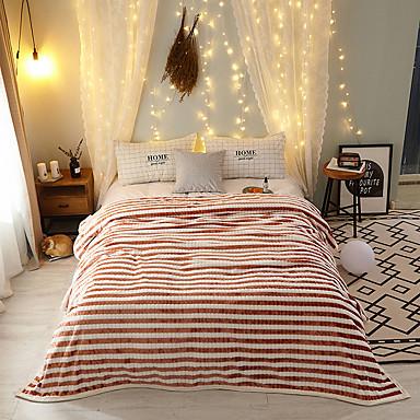 Couvertures de lit, Rayé Flanelle Toison Réchauffeur Confortable Super Doux couvertures