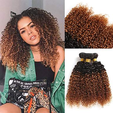 お買い得  ヘアエクステンション-3バンドル ブラジリアンヘア カール レミーヘア人毛 人毛エクステンション 10-26 インチ ナチュラル 人間の髪織り 最高品質 新参者 ホット販売 人間の髪の拡張機能 女性用