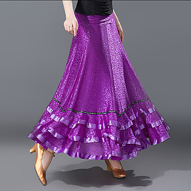 Für den Ballsaal Unten Damen Training / Leistung Polyester Muster / Druck / Horizontal gerüscht Hoch Röcke