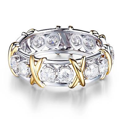 levne Prsteny-Dámské Modrá Zelená Růžová Kubický zirkon Ozdobný Prsten Moderní Elegantní Fashion Ring Šperky Stříbrná Pro Svatební