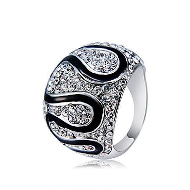 billige Motering-Par Statement Ring / Ring Kubisk Zirkonium / liten diamant 1pc Sølv Kobber / Sølvplett / Fuskediamant Statement / Unikt design / Vintage Fest / Seremoni / Aftenselskap Kostyme smykker / Oversized
