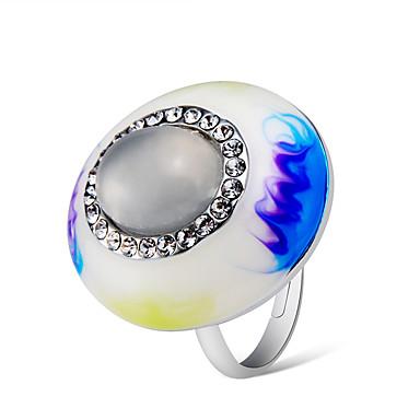 Γυναικεία Λευκό Cubic Zirconia Πεπαλαιωμένο Στυλ Δαχτυλίδι Ρυθμιζόμενο δαχτυλίδι Επάργυρο Εμαγιέ Προσομειωμένο διαμάντι Καλλιτεχνικό Ασιατικό Μοναδικό Κομψό Μοδάτο Δαχτυλίδι Κοσμήματα Ουράνιο Τόξο Για