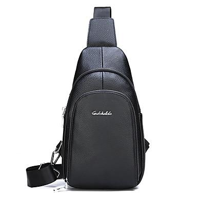 35c9dec418f8 Men's Bags Cowhide Sling Shoulder Bag Zipper Solid Color Black / Brown