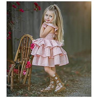 voordelige Babyjurkjes-Baby Meisjes Standaard Effen Mouwloos Jurk Blozend Roze