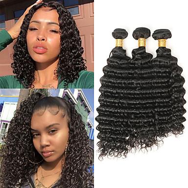 Lot de 3 Cheveux Brésiliens Ondulation profonde Cheveux Naturel Rémy Extensions Naturelles 10-26 pouce Tissages de cheveux humains Doux Meilleure qualité Nouvelle arrivee Extensions de cheveux