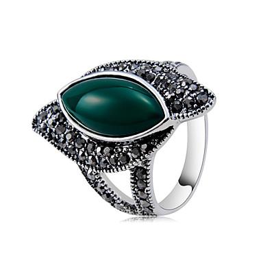 voordelige Dames Sieraden-Dames Ring Jade 1pc donkergrijs Koper Verzilverd Gesimuleerde diamant Uniek ontwerp modieus Rock Feest Avond Feest Sieraden Cool