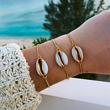 abordables Bracelet-Bracelet Femme Coquillage Puka Shell Elégant simple Bijoux d'Hawaï Bracelet Bijoux Dorée pour Quotidien