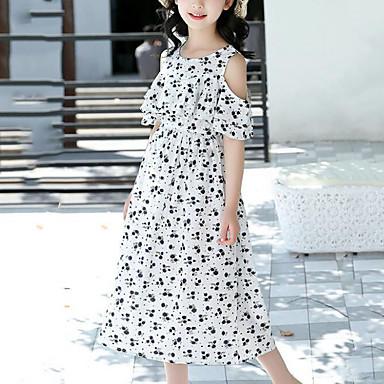 baratos Vestidos para Meninas-Infantil Para Meninas Boho Moda de Rua Floral Estampado Médio Vestido Branco / Algodão
