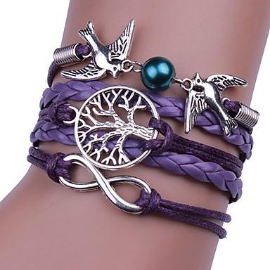 abordables Bracelet-Bracelets Plusieurs Tours Homme Femme Tressé Corde Pourpre Oiseau Hip-Hop Bracelet Bijoux Violet Circulaire pour Mariage Cérémonie