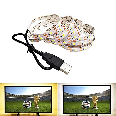 billige LED Strip Lamper-2m fleksible led lysstrimler 120 leds smd2835 varm hvit kald hvit usb fest dekorative usb drevet 1pc