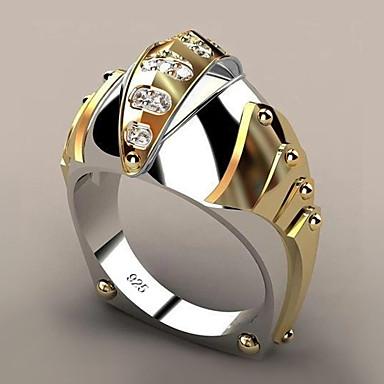 billige Båndringe-Dame Hvit Syntetisk Diamant geometriske Band Ring Gullbelagt Legering Fisk trendy Motering Smykker Gul Til Fest Gave Stevnemøte 6 / 7 / 8 / 9 / 10