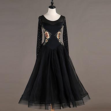 Baile de Salón Vestidos Mujer Entrenamiento Nailon / Organza / Tul Cristales / Rhinestones Manga Larga Cintura Alta Vestido
