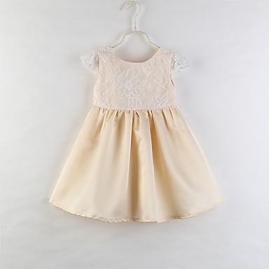 b39bc486fcd Μωρό Κοριτσίστικα Ενεργό / Βασικό Φλοράλ Δαντέλα Αμάνικο Ως το Γόνατο  Βαμβάκι / Ακρυλικό / Spandex Φόρεμα Χρυσό