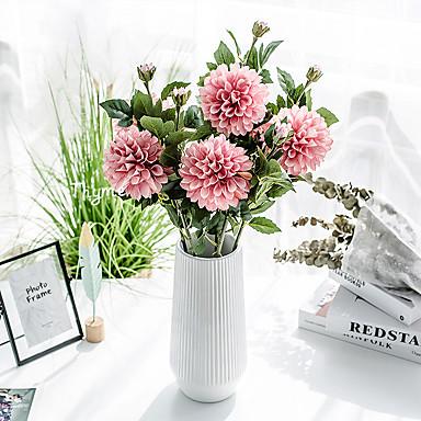Fleurs artificielles 1 Une succursale Classique Accessoires de Scène style pastoral Chrysanthème Fleurs éternelles Fleur de Table
