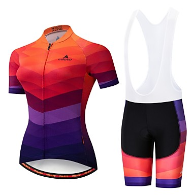Miloto Women's Short Sleeve Cycling Jersey with Bib Shorts - Orange+White Black / Orange Bike Padded Shorts / Chamois Clothing Suit Breathable 3D Pad Moisture Wicking Reflective Strips Sports Lycra